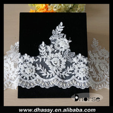 High quality indian white & ivory hand beaded embroidery fancy laces trim DHBL1540