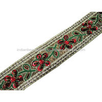 1 YARD HAND BEADED RED FLORAL SEQUIN RIBBON TRIM CRAFT