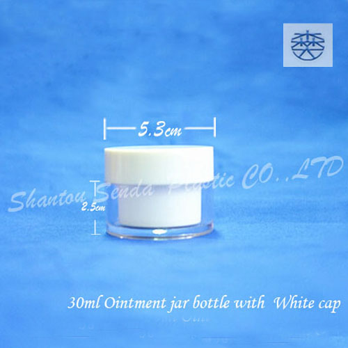 Jar cosmetic bottles with white ,DD CC BB cream 30g facecream bottle.,Cosmetic packaging bottle