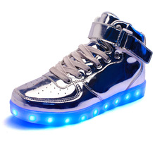 Top grade high upper gold led shoes popular used for dancer led high top shoes