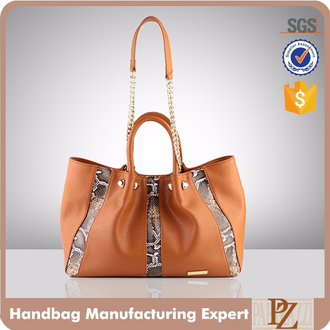 5140- Custom Wholesale Smooth Leather Handbags with Chain Shoulder Strap for Girls