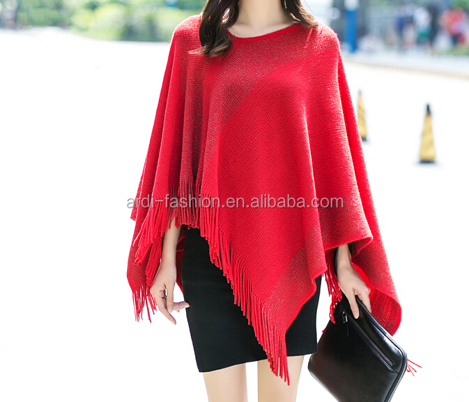 fashion new design knitting pattern ladies knitted poncho