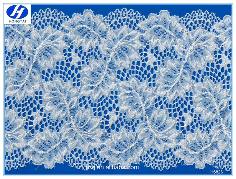 embroidery leaf nylon lace wide trim/elastic lace trim made in China,wholesale