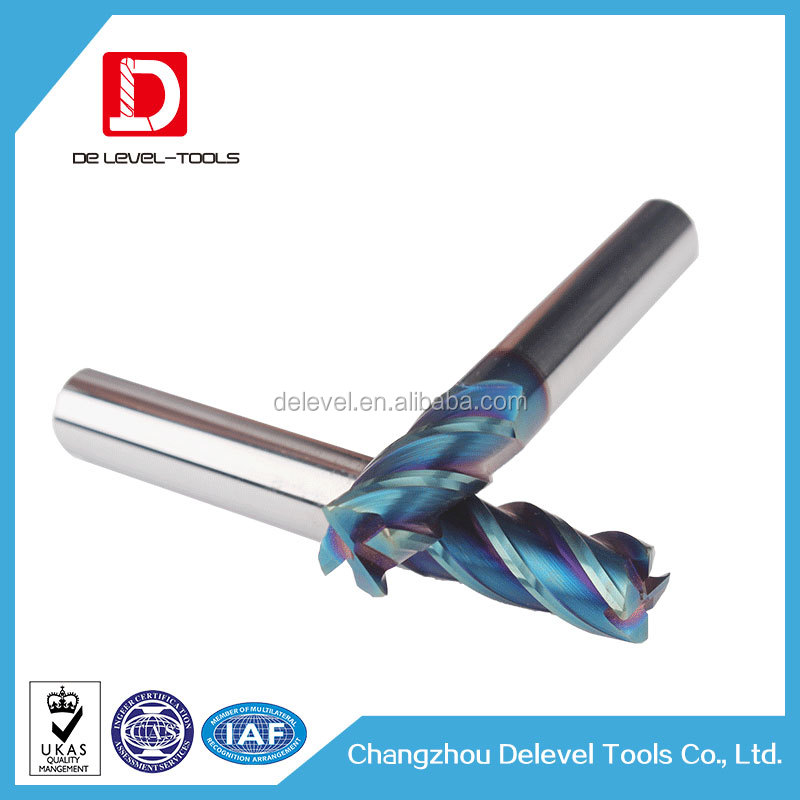 Delevel-Tungsten Carbide HRC55 4 Flutes Square Face Endmill / Milling Cutter / Flat Face Cutting Tool