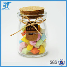 Transparent 100ml 150ml 200ml glass candy jar with cork lid