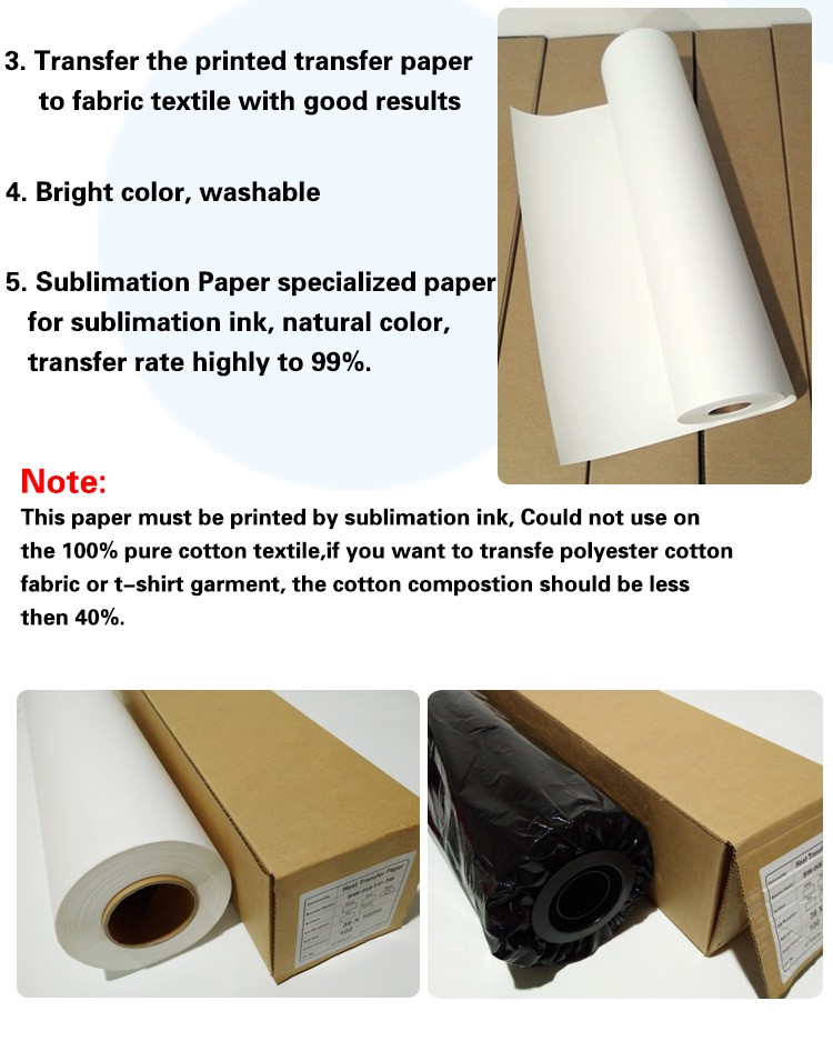 44''(111.8cm) 63'' (160cm) fast dry sublimation paper / tacky sublimation paper roll 100gsm