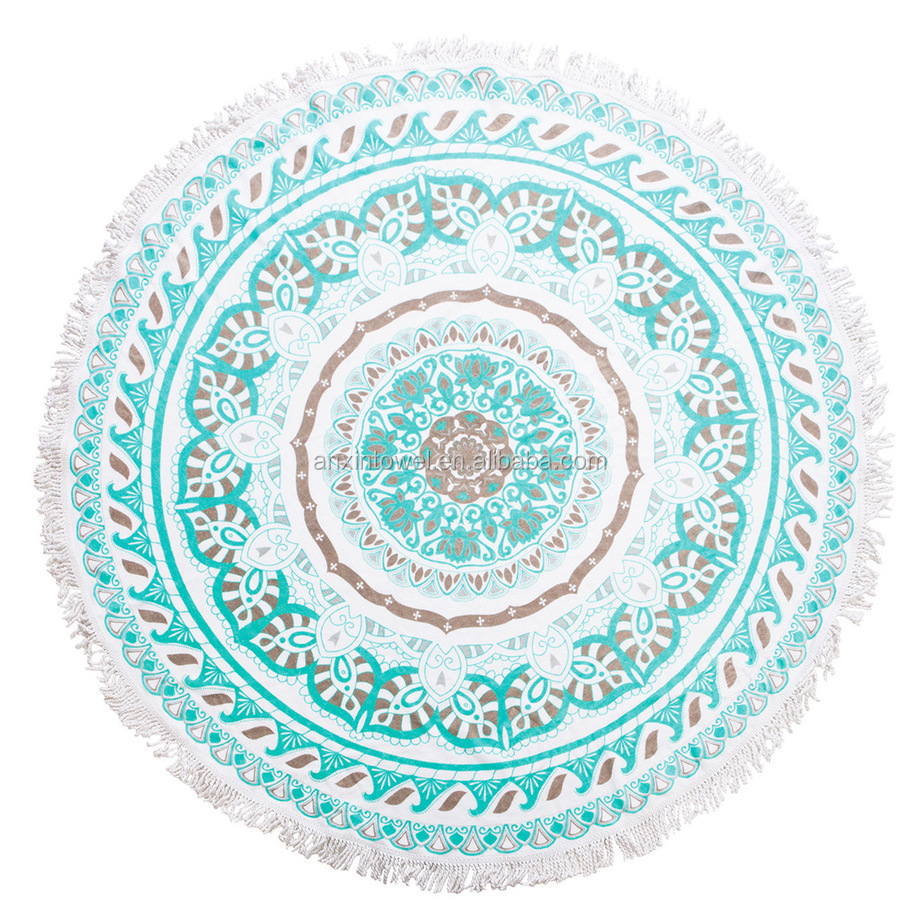 Turkish manufacturer 100% cotton Custom printed microfiber large round beach towel