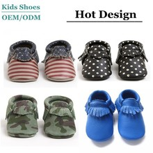 J-B0176 American Style Flag Pattern Baby Mocassins Shoes Slip-on Shoes Fashion Mama Choice Leather Toddlers Tassel Shoes