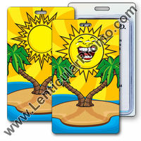 Lenticular 3D luggage tag Promotional Gift with tropical Hawaiian palm tree and cartoon faced Sun