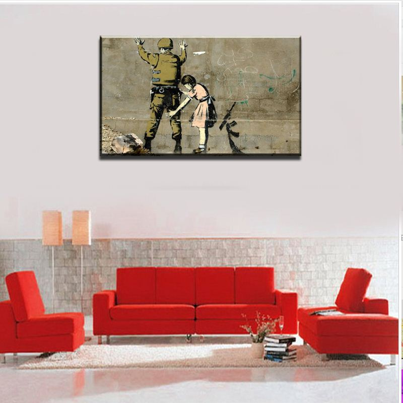 2015 High Quality The coloring of the room HUGE BANKSY Search soldiers CANVAS Art Print Home Wall pictures black and white
