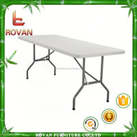 rolling folding table plastic round table with folding leg