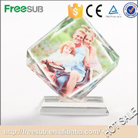 Glass Cube Square Moving Picture Crystal Frame For Sublimation Frame