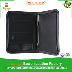 TYWEN - 0179 a5 portfolios with pen holder / leather ring binder portfolios / business black leather 2 pocket portfolios