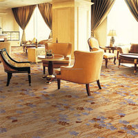 Machine made Polyester Wilton carpet floral wall to wall resturant carpet