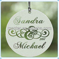 Round Frosted Glass Wedding Ornament for Bride and Groom Gifts