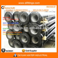 TAWIL EN545/ISO2531 China cement mortar lined zinc coat K9 Ductile iron flange pipe