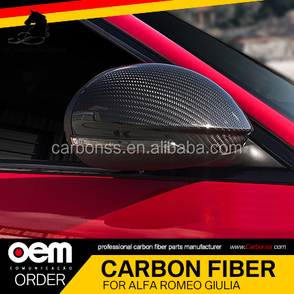 <strong>Free</strong> Shipping Carbon Fiber Rear View Mirror Cover Stick On Type For <strong>Alfa</strong> <strong>Romeo</strong> Giulia 2016+