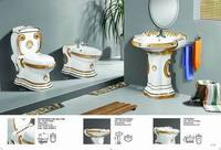 Bathroom sanitary wares set ceramic European electroplate color toilet