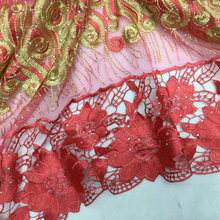 Good quality african guipure lace fabric red colour cord lace fabric