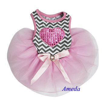 Bling Heart Gray Chevron Pink Tutu Pets Small Dogs Clothes Party Dress XS-L