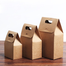 New premium kraft food box paper folding lunch box brown kraft paper box