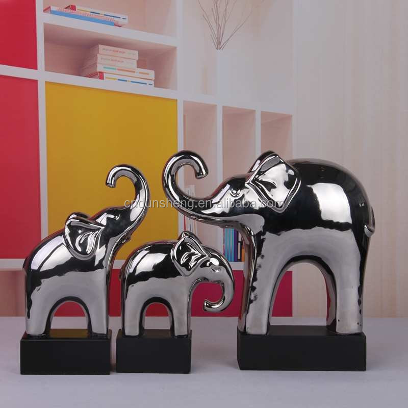 modern porcelain elephant decoration ,ceramic silver elephant figurines