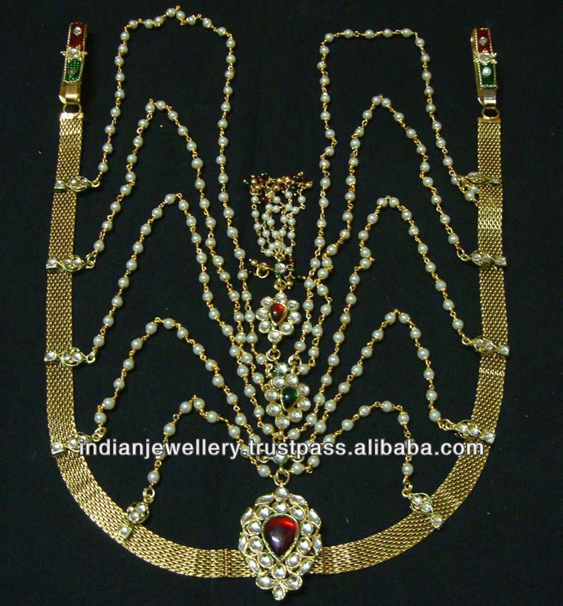 Indian costume jewelry polki belly chains wholesale supplier