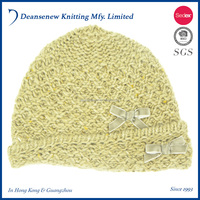 2016 Korean Cute Fashion New Design 100% Acrylic Bow Pattern Warm Fall Winter Child Kids Boy Girl Multi Color Knitted Beanie Hat