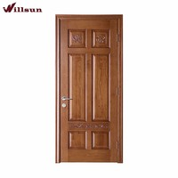 Simple Carved Decorative Six Panels Cheap Exterior Wood Door