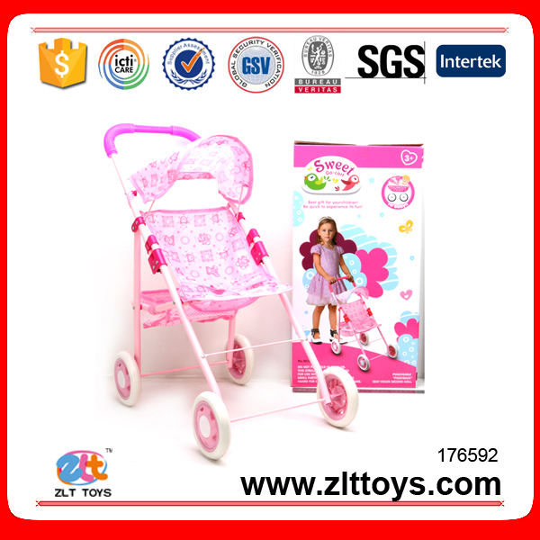 Cheap iron baby doll stroller toy with doll