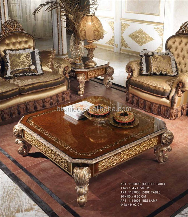 Luxury Italian Living Room Glass Top Coffee Table/antique