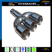 three outlets exhaust system muffler tips for car