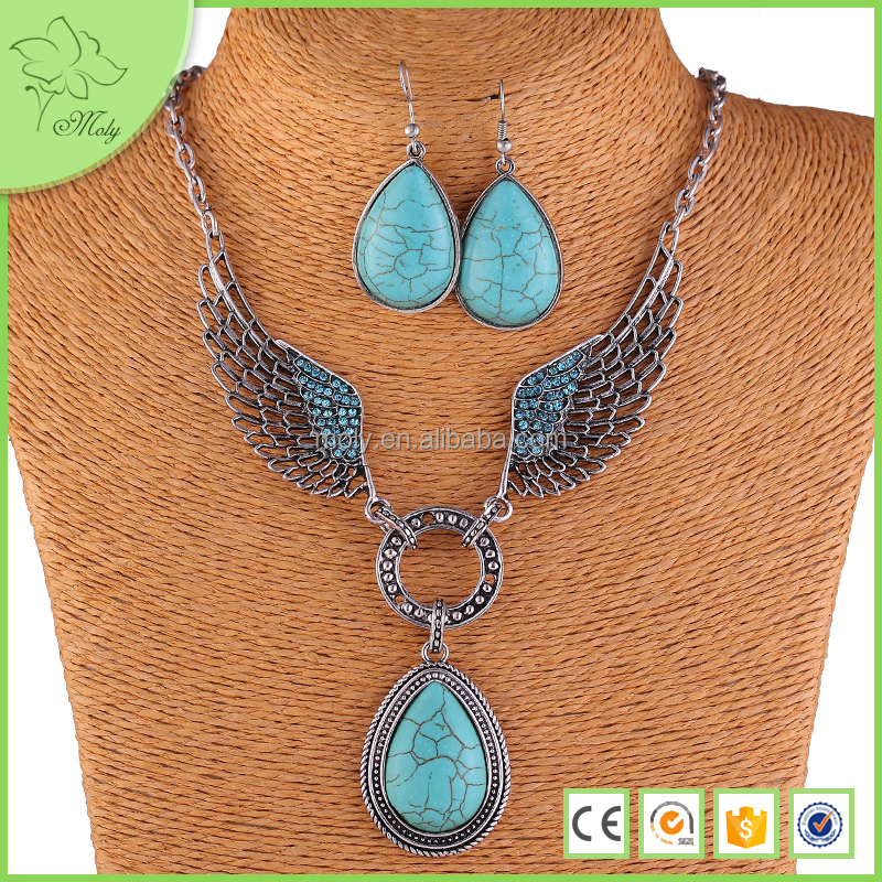 2016 Trendys Jewelry American Paragraph-blasting Antique Wing Natural Turquoise Necklace Jewelry