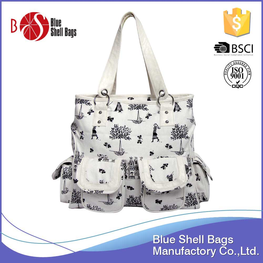 Alibaba Trends Lady Leather Tote Bag Custom Printed Fashion Handbag