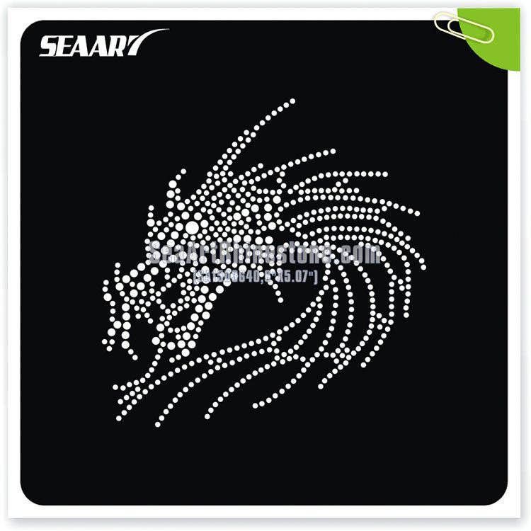dragon shinny hot fix customed rhinestone transfer motifs design