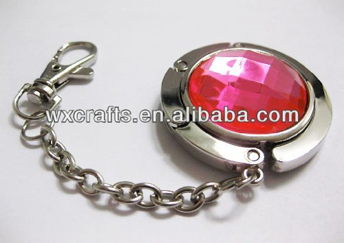 round crystal purse key hook