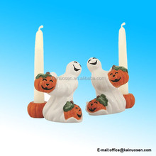 Happy Halloween Pumpkin and Ghost Candleholders