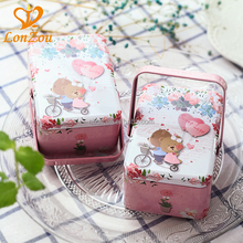 Tin lunch box square mooncake chocolate wholesale custom printed cookie tin box with handle