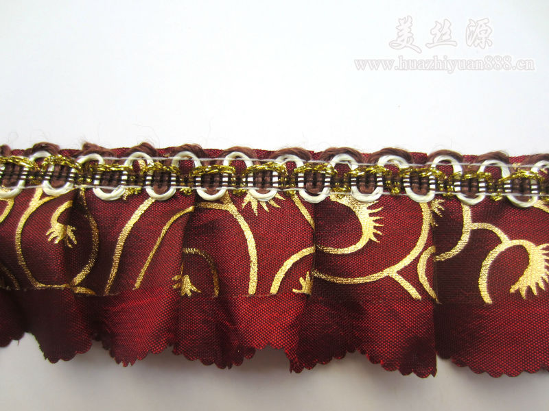 Fashion polyester fabric ruffled lace for curtain