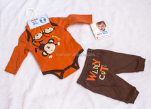 wholesale low price good quality naughty monkey pattern pure color three piece boy baby clothes