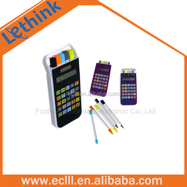 8 digit cellphone shape calculator with pen set