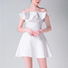 European Style Pleated Shoulder White Prom Dresses For Women