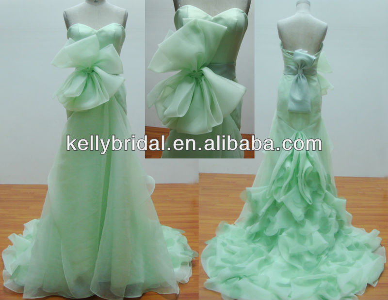 elegant light green organza with big bow belt colorful wedding dresses