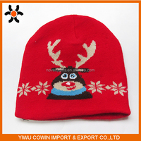 100% Acrylic unique knitted raindeer christmas cap, soft xmas decoration hat for adult