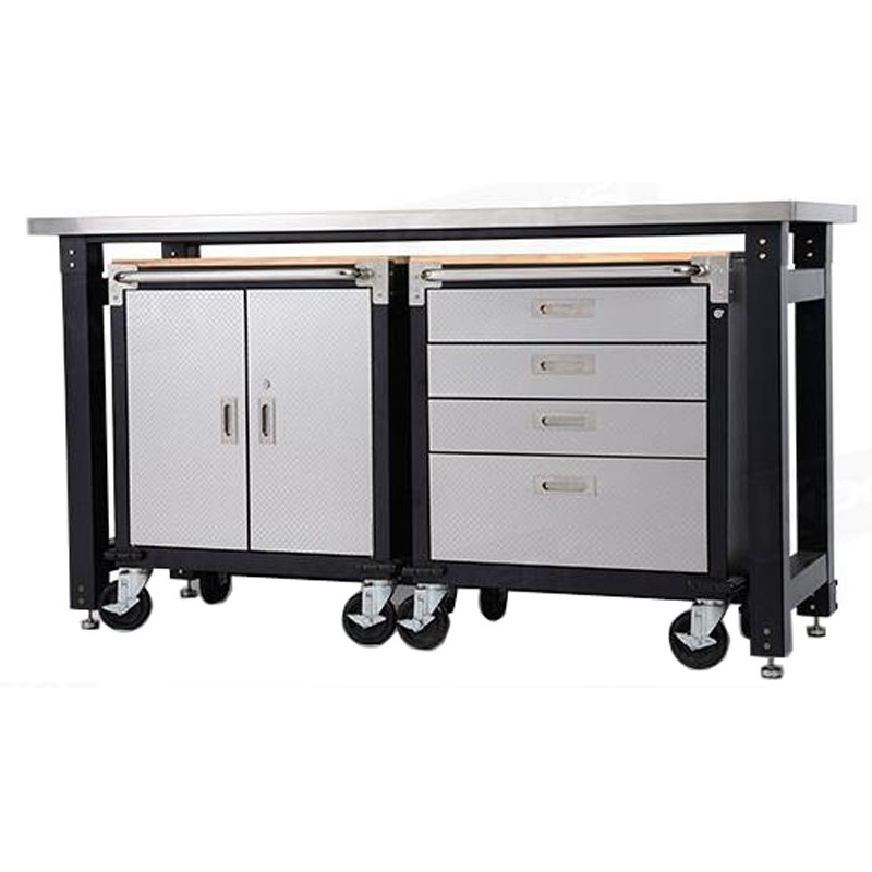 "LC-WB72002SS 72"" multifunction Stainless steel commercial antique Garage shed storage tool chest with wooden top"