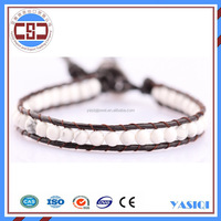 Factory price natural stone white howlite bead bracelet ,leather bracelet women jewel