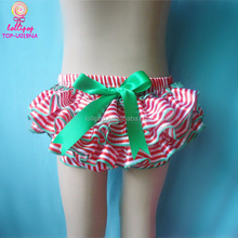 Christmas wholesale chevron ruffle newborn girls boys bloomers diaper cover stripe satin with big bowknot