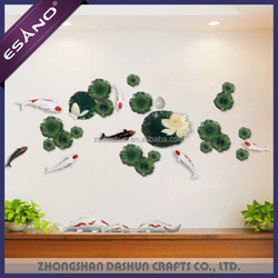 2018 New designs 3d decoration fish lotus for home decoration