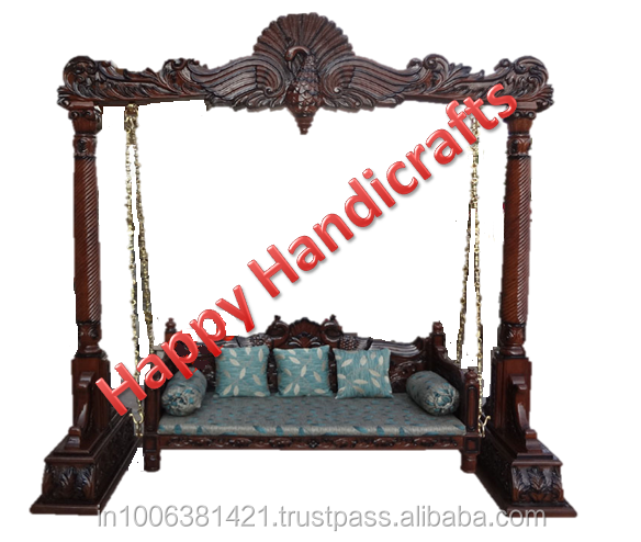 Indian wooden indoor beautiful hand painted royal decorative swings