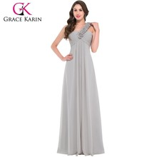 Grace Karin Chiffon Floor Length One Shoulder floral strap Long Formal Bridesmaid Dress CL3402-3#